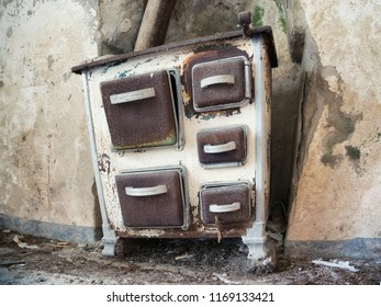old stove in abandoned rural farm