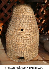 Old Straw Bee Hive Cutout