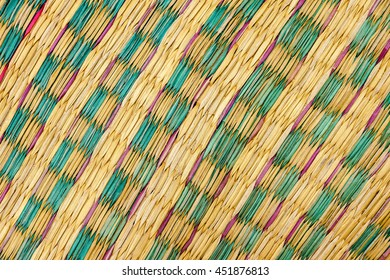 Old straw mat pattern background . Abstract background .Thailand local products