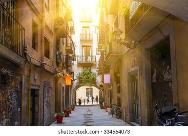 Old street in Barcelona. Spain