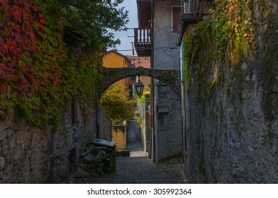 Old street of Bellagio town at the famous Italian lake Como.