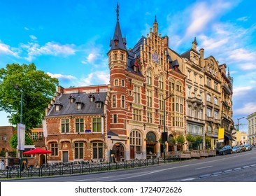 Old street in center of Brussels, Belgium. Cityscape of Brussels (Bruxelles). Architecture and landmarks of Brussels.