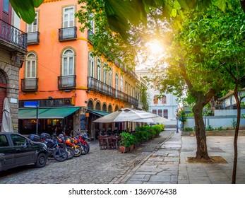 Old street of Centro in Rio de Janeiro. Brazil. Cityscape of center of Rio de Janeiro