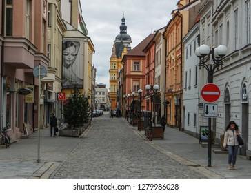 Old Street in Ceske Budejovice (Budweis), Czech Republic - November, 2018