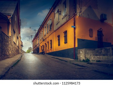 Old street in the city of Uzhhorod. Ukraine
