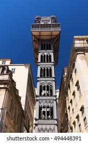 Old street elevator Santa Justa in Lisbon. Santa Justa elevador