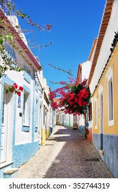 old street with flowers in Algarve, Portugal.