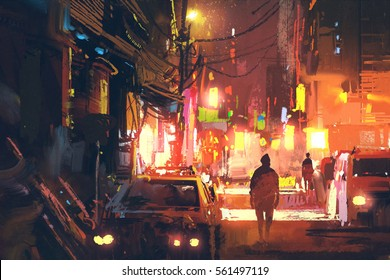 old street in the futuristic city at night with colorful light,sci-fi concept,illustration painting