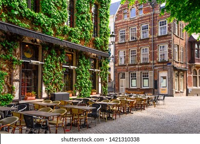 Old street of the historic city center of Antwerpen (Antwerp), Belgium. Cozy cityscape of Antwerp. Architecture and landmark of Antwerpen