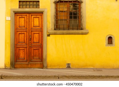 old street in historical town - door, window and wall, Florence, Italy