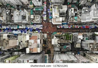 old street in hong knog aerial view, sham shun po