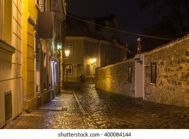 Old street of Hradcany in Prague at night. Czech Republic