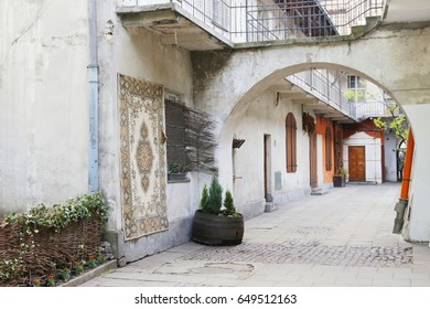 old street in old jewish district Kazimierz in Cracow in Poland