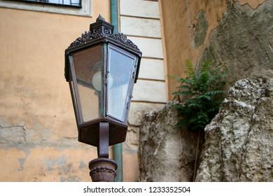 Old street lamp in Mikulov Castle in the town of Mikulov in South Moravia, Czech Republic