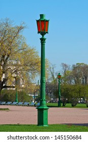 The old street lamp on the field of Mars in Saint-Petersburg.