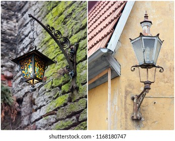 old street lamp on the house