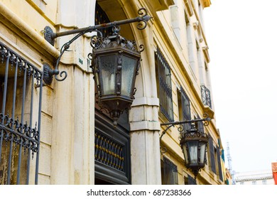 Old street lamp on the wall of Venice