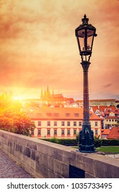 Old Street Lamp At Sunset On Charles Bridge in Prague