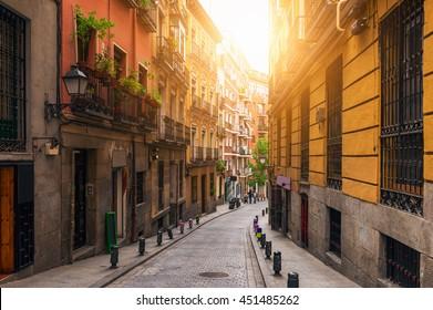 Old street in Madrid, Spain. Madrid architecture and landmark, Madrid cityscape