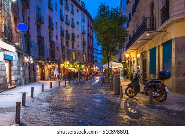 Old street in Madrid, Spain. Architecture and landmark of Madrid. Night cityscape of Madrid