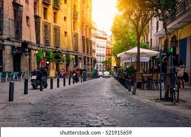 Old street in Madrid, Spain. Architecture and landmark of Madrid, postcard of Madrid