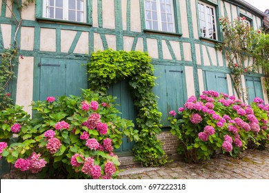 Old street in the medieval village of Gerberoy in the Department of Oise in Picardie, France.
