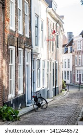 Old street in Middelburg with bicycle