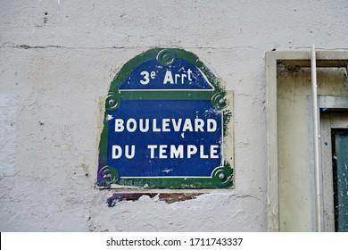 Old street name sign: Boulevard du Temple (Temple Boulevard). Paris. France.