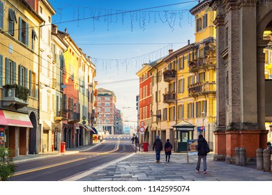 Old street in Parma, Emilia-Romagna, Italy. Parma colorful architecture