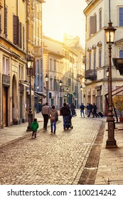 Old street in Parma at sunset, Emilia-Romagna, Italy. Parma architecture