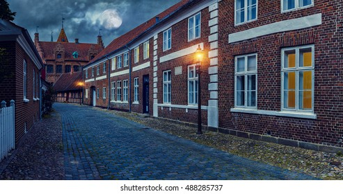 Old Street In Ribe At Night, Danish Old Famous City / Full moon over the cobblestone street. Denmark