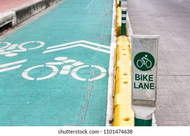 Old street sign of bike lane in thailand