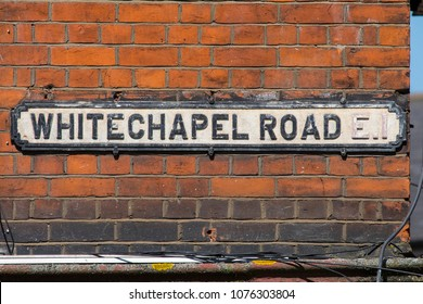 An old street sign on the Whitechapel Road in the East End of London, UK.
