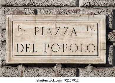 Old street sign at Popolo Square in Rome, Italy