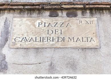 Old street sign in Rome, Italy - Piazza dei Cavalieri di Malta