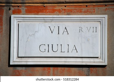 Old street sign in Rome, Italy - Via Giulia