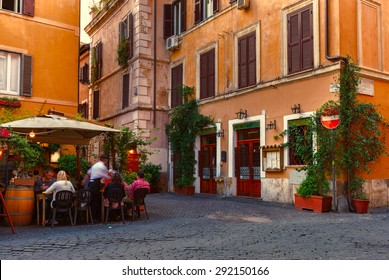 Old street in Trastevere in Rome, Italy. Trastevere is rione of Rome, on the west bank of the Tiber in Rome, Lazio, Italy.  Architecture and landmark of Rome