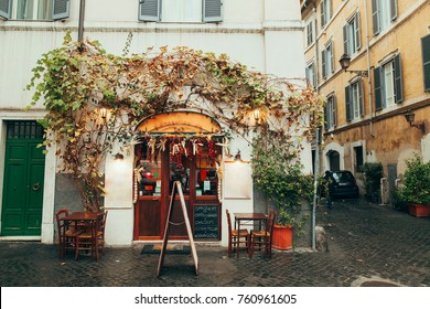Old street in Trastevere in Rome, Italy