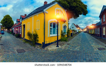 Old Street At Twilight, Ribe City, Denmark