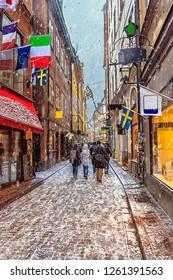 Old street of winter in Stockholm, Sweden