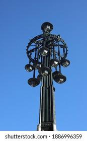 old streetlamp in Vigo in a sunny day