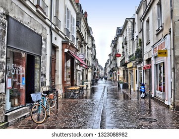 Old streets with cafe and restaurants in historic center of Tours, France.  Tours- largest city in the Centre-Val de Loire region of France- major tourist destination in Loire Valley.  2014-04-29
