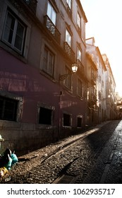 old streets of lisbon sunset