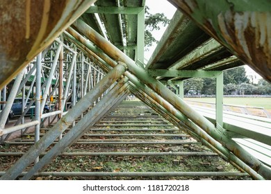 Old Structure steel grandstand , View from below ,selective focus