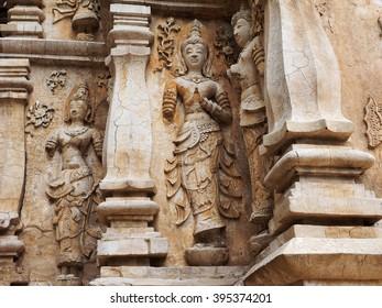 Old stucco wall at wat ched yod ,chiang mai Thailand.