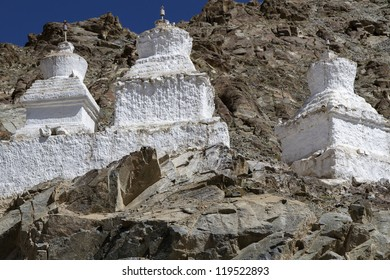 Old stupas in the mountains of Ladakh, India