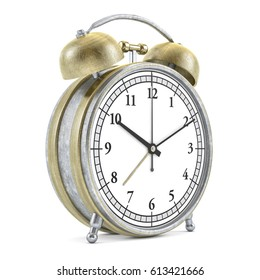 Old style alarm clock isolated on white. 3D rendering