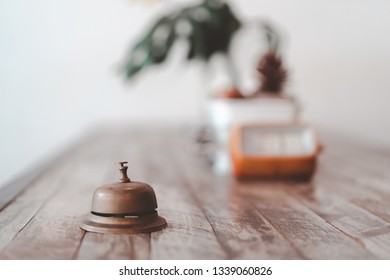 old style bell with vintage decoration, space and time concept