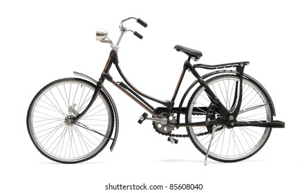 old style bicycle over white