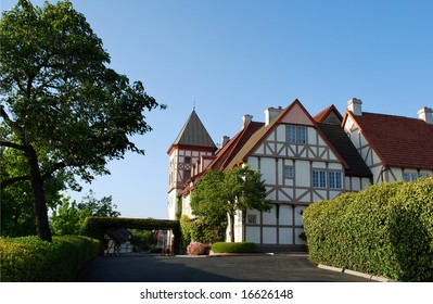 Old style buildings at Solvang, Danish village, California, USA